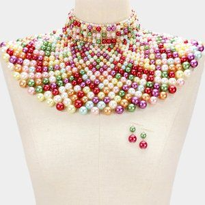 Multicolored Pearl Armor Bib Choker Necklace